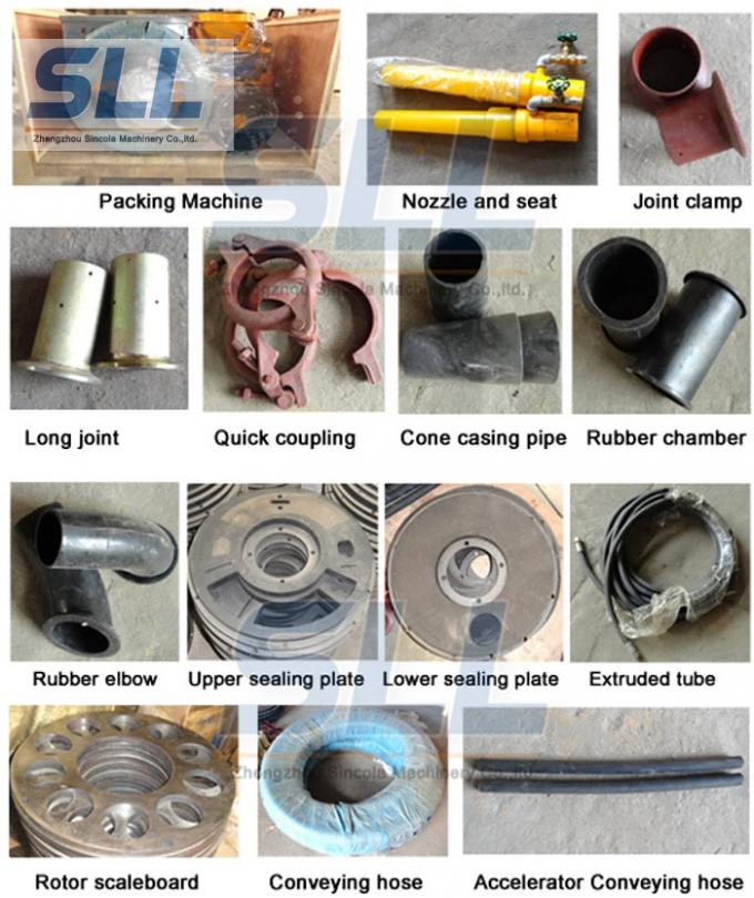 Concrete spraying equipment parts rubber chamber protection the machine