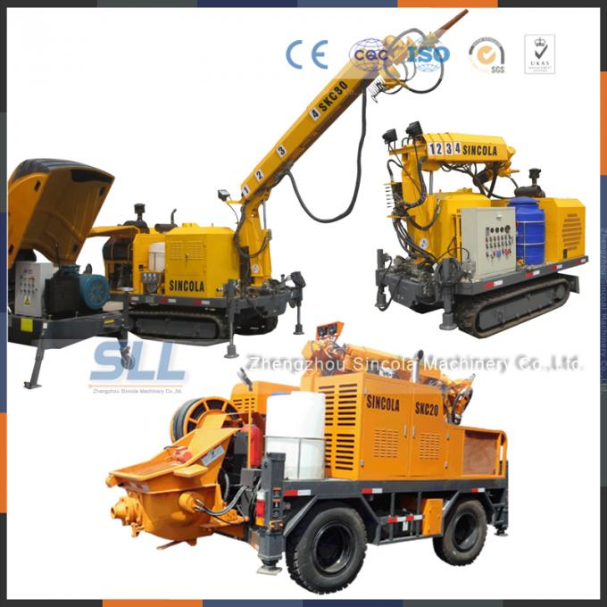 Electric Robotic Mining Equipment / Concrete Spraying Machine With Shotcrete Arm