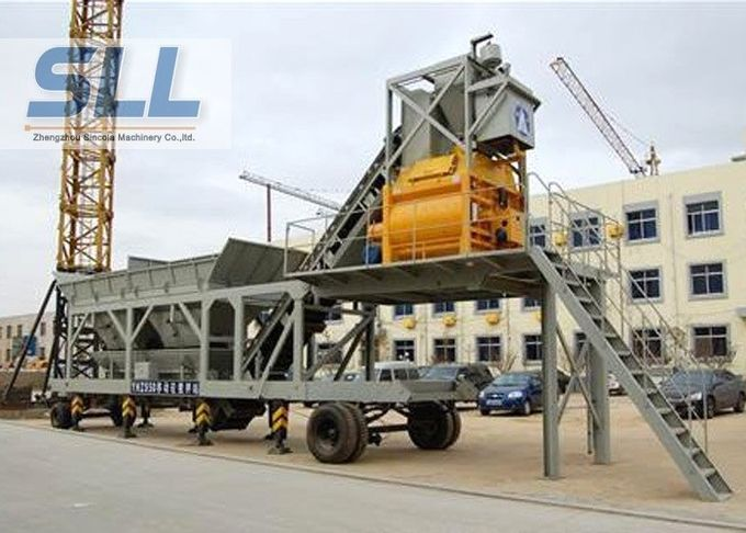 High Productivity Portable Concrete Mixer Batching Plants Mobile Low Noise