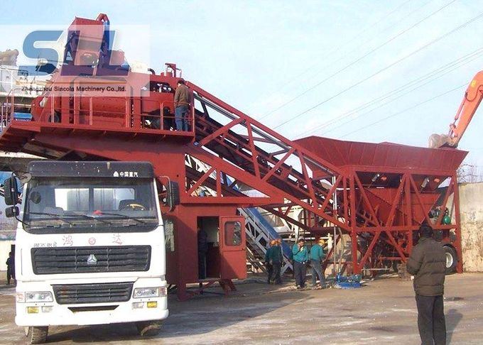 Mobile Ready Mix Concrete Plant / Portable Cement Plant Customized Color